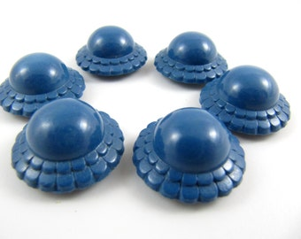 Lot of 6 Vintage Blue Plastic Buttons * 21 mm *** P-106