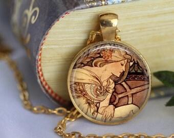 ALPHONSE MUCHA Necklace Glass Pendant Art Nouveau Glass Pendant Handmade Mucha Jewerly Mucha Jewellery