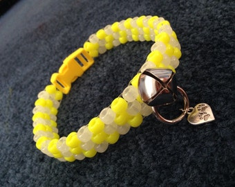 UV Yellow and Glow Peyote Kandi Collar and Leash