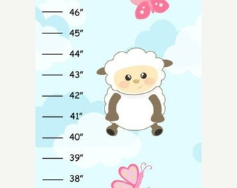 MEGA SALE SALE Personalized Sheep with Clouds Full Color Background Canvas Growth Chart
