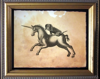 Dapple Dachshund Wiener Dog Riding Unicorn - Vintage Collage Art Print on Tea Stained Paper - Vintage Art Print - Vintage Paper
