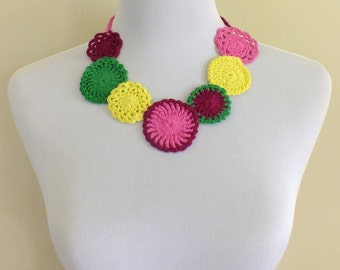 crochet bohemian  doily necklace-colourful  necklace-spring/summer necklace