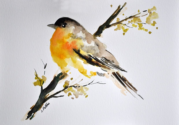 ORIGINAL Watercolor Painting Colorful Yellow Bird Art 6x8