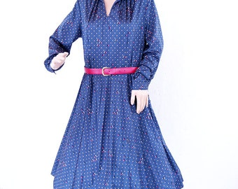 Vintage 1980s Ladies Royal Blue Gathered Waist Made in Sweden Dress SIZE 10 12 M L 38 40