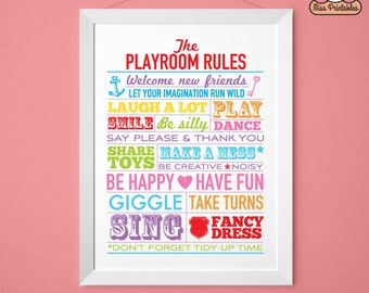 Playroom Rules printable poster multi-coloured. Instant download. Perfect for the children's room.