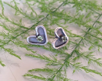 Perridot heart post earrings