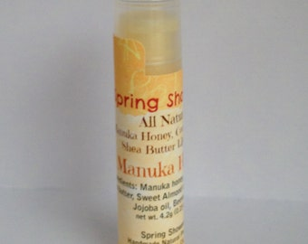Manuka Honey, Cocoa Butter & Shea Butter all natural lip balm 自然リップクリーム100%マヌカハニー入り Fragrance Free Lip Balm