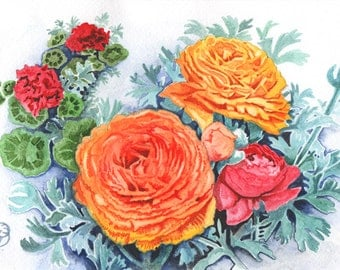 Orange Ranunculus, ORIGINAL watercolor painting, FREE shipping