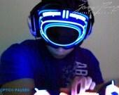 DJ Mask Rave Mask - Light Up Mask Robot Mask LED Sound Reactive for Cyborg masquerade edc DJ gigs tron Glow subzero Hero Villain Mask