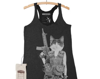 Cat Shirt Machine Gun Funny Women's Tank Top- Shirt in Sizes Small to XL