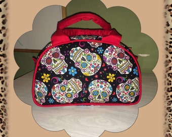Sugar Skulls- Day of the dead Vintage inspired handmade handbag