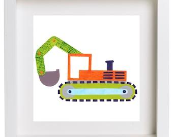Art Print for Kids, Kids bedroom or Nursery wall art, Bedroom Decor: Construction Print - Excavator