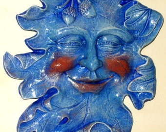 Acorn Leafman Face Mythical Wall Decor Greenman Sculpture Blue Color NEW