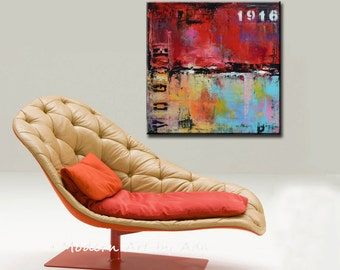 Red Abstract Urban Painting, Original wall art ,Wall Decor, Wall art, Red abstract art industrial modern abstract painting