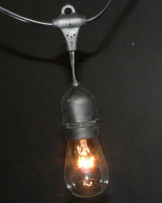 Vintage String Lights Etsy : Items similar to 1 Bulb Single Hanging Cord Vintage Patio String Lights Black Cord Clear Glass ...