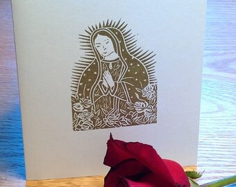 Our Lady of Guadalupe with roses or Saint Francis linocut block print cards