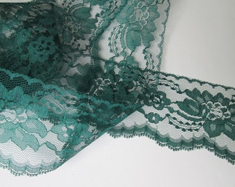 "Flat Lace 3"" Wide by 5-40 Yards  Green Floral Scalloped Wedding Crafting"
