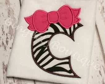 Zebra Bow Alpha/Letter Shirt or Bodysuit, Bow Birthday Theme, Girl Birthday Shirt, Bow Shirt, Girl Zebra Themed Shirt, Monogrammed Shirt