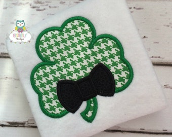 Shamrock with Bow Tie St Patricks Day Shirt or Bodysuit, Boy Shamrock Shirt, St Patricks Day Shirt, Boy St Patty's Day Shirt, Boy St Patrick