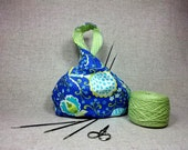 Small Project Bag, Knitting Bag, Birds and Flowers green blue, Japanese Knot Bag, Cotton, Crochet