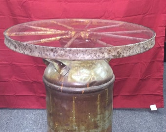 Milk can and wagon wheel end table