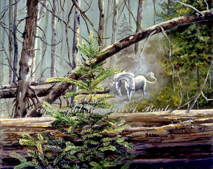 GICLEE FANTASY PRINT: Unicorn, forest, trees, wilderness, nature, wall art, 11 x 15 inches, girl's room, for her