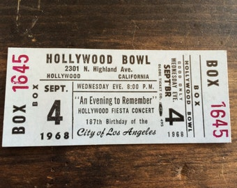 Vintage 1968 Hollywood Bowl Concert Ticket Box Seat / An Evening To Remember / 187th Birthday of the City of Los Angeles / Globe Ticket Co.