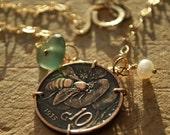 Coin Jewelry. Genuine Sea Glass Jewelry.  Italian Seaglass & Genuine Italian Coin Necklace. Italian Honey Bee Coin. 10 Centesimi. Handmade