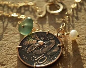 Coin Jewelry, Genuine Sea Glass Jewelry, Genuine Italian Seaglass & Antique Italian Coin Handmade Necklace. Bee Coin