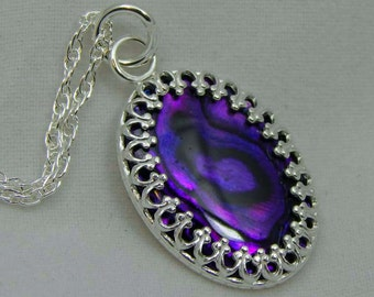 Purple Paua Shell Necklace. Paua Shell. Purple Paua Shell Pendant. Abalone
