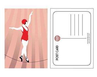 Illustrated tightrope showgirl postcard