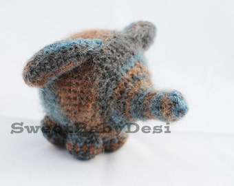 Mohair Elephant Stuffed Animal, Crochet Amigurumi Plush Toy, Blue and Brown