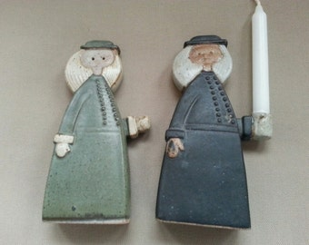 After HolidaySpecial ~ Primitive Pottery Boy Candle Holder Pair 1960's, 1970's by Knobler of Japan