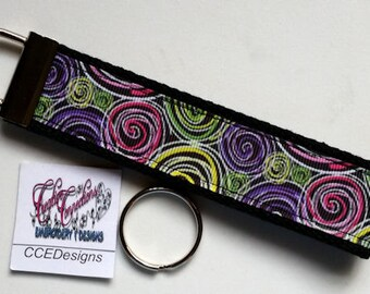 Kaleidoscope Swirls Ribbon Key Fob, Wristlet, Key Chain, Key Ring, Hands Free  NEW