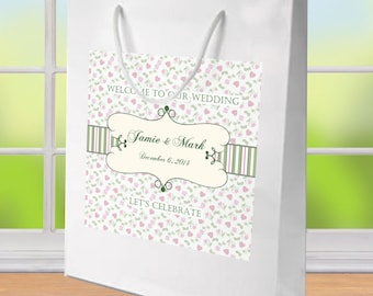 20 Wedding Welcome Bags, Gingham Floral Labels on White Gloss bags for hotel guests hospitality bag, wedding favors, goody bags