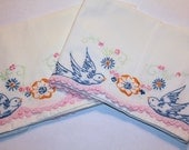 Vintage Crisp Pillow Cases, Blue Birds Hand Embroidery, Crocheted Pink Scalloped Edges