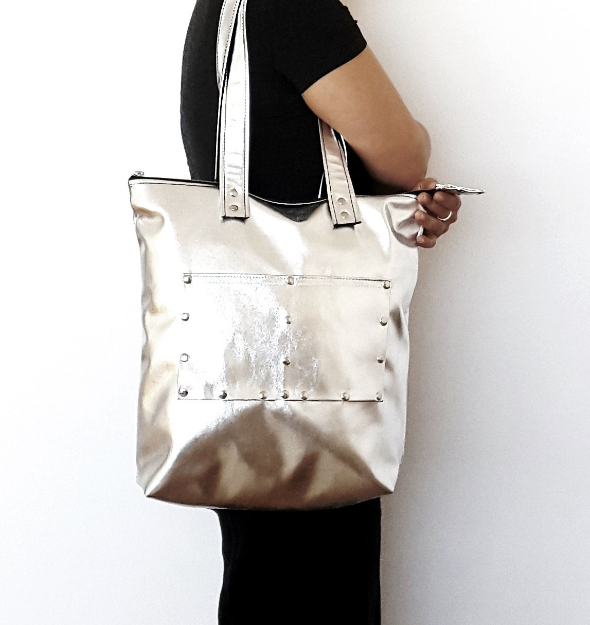 ysl clutch gold chain - Silver leather tote bag, leather shopping bag, casual tote bag ...