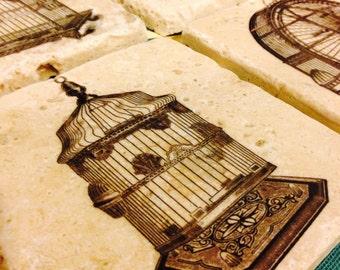 Birdcage Marble Tile Coasters - Set of 4 // Antique // Cage // Victorian // Bird // Unusual decor // Conversation piece //
