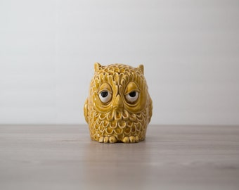 Owl Money Bank / vintage ceramic sleepy owl piggy bank coin bank