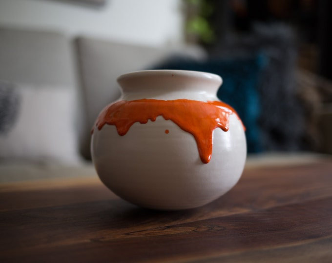 Ceramic Clay Pot / Vintage Orange Drip Planter (Pottery Made in Toronto, Canada) / Round Ball Pottery