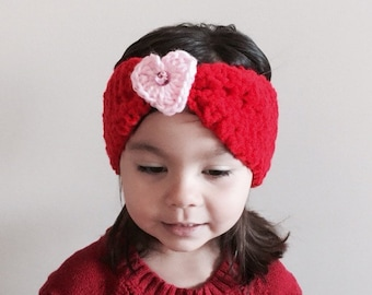 Valentines Day Headwrap, Red and Pink Heart Ear Warmer - Turban Headwrap - Valentines Day Girl Gift