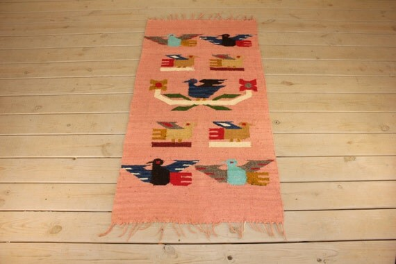 Vintage Large Wool Tapestry Wall Hanging Colorful Southwestern