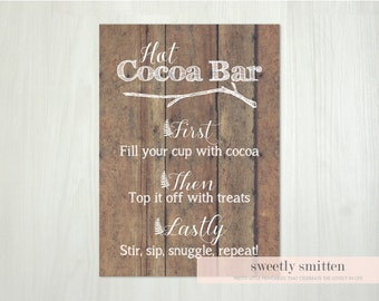 Instant Download 5x7 Cocoa Bar Printable, Cocoa Bar Sign, Hot Cocoa Printable, Hot Cocoa Sign, Holiday Party Sign, Christmas Party Sign