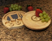 "Brie Personalized Cheese Cutting Board & Tool Set with Monogram Design Options and Font Selection (7.5"" Diameter)"