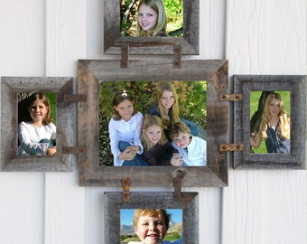 SALE Barnwood Photo Collage Frame for 1 -- 8 X 10 & 4 -- 4 X 6s in your choice of colors
