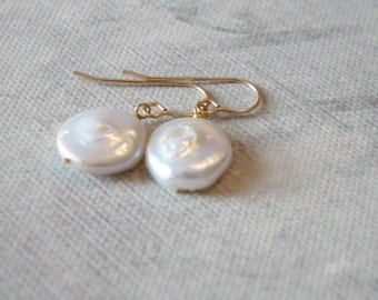 14K gold filled coin pearl earrings
