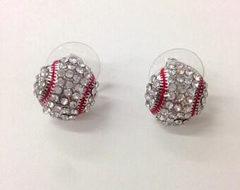 Rhinestone baseball stud earrings  / gift for sports mom / spots team / gift for her/baseball mom /fashion earring