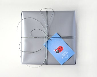 Gift Tag Set • Pack of 8 • Magical Christmas by Celebratink • Ladybug • Santa • Gift Tags • Blue • Santa Hat