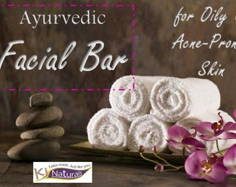Facial cleansing bar for oily and acne-prone skin 100% Natural ayurvedic bar with  neem powder, rhassoul clay and bentonite clay.