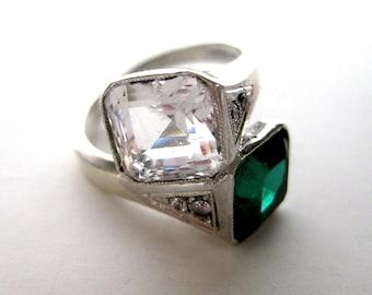 Vintage Sterling Silver & Paste Crossover Ring